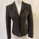 Talbots Jacket Blazer Women's 2 Black Polka Dots Eye Hook Closure Front