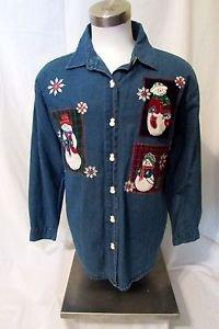 Denim Snowman Shirt Women's Large Long Sleeve Button Front