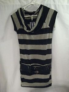 Black Gray Striped Tunic Top Juniors Large Cowl Neck Faux Belt Bella D NWT