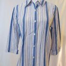 Talbots Women's Blouse Small 3/4 Sleeve Button Front Shirt Multi color stripes