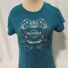 Hard Rock Cafe Foxwoods T Shirt Women's Size Large Cap Sleeves  Teal