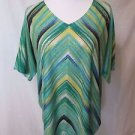 Chico's Top Shirt Women's 2 (Large) Multi Striped Rhinestone Details Full Cut