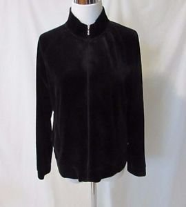 Talbots Petites Black Veloure Active wear Jacket Women's Medium Zipper Closure