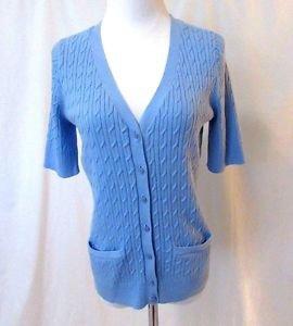 Talbots Petites Pima Cotton Cable Cardigan Sweater Women's Medium Blue