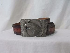 Vintage Men's Hand tooled leather belt size 38''  Pewter buckle with Eagle Made