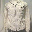 Eddie Bauer Jacket Women's Medium  Hood White Pockets Zip Front