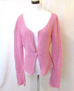 "LILLY PULITZER ""Lainey"" Crochet Pink Cardigan Sweater Women's Medium Long Sleeve"