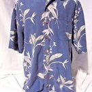 Hilo Hattie Men's Hawaiian Shirt XL Coconut Buttons Short Sleeve Blue Pocket