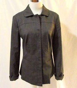 Chico's Tailored Rolled Sleeve Jacket Blazer Size 0 (4/Small) Gray Span Front