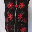 Christmas Sweater Vest Women's 22W/24W Black Poinsettias Zipper White Stag