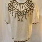 Brilliante JA Silk Beaded Evening Formal Blouse Shirt Size L Cream Sequin Silk