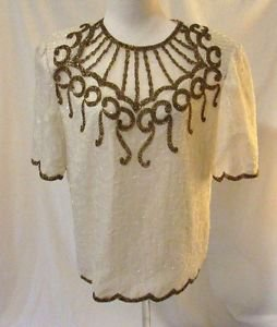 Brilliante JA Silk Beaded Evening Formal Blouse Shirt Size L Cream Sequin Silk