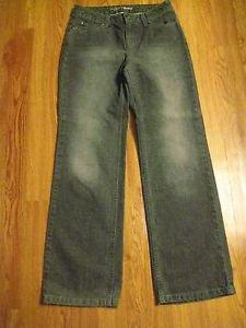 Liz Claiborne Women's Bootcut Jeans Size 4 Petite  Black/Gray Distressed Denim
