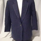 Pendleton Wool Petite Blazer Women's Large Plaid Green Purple Blue 100% Wool
