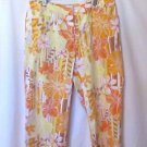Chico's Wide Leg Capri Pants Women's 1.5 (10) Orange & Yellow Floral
