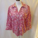 Robert Graham Women's Floral Blouse Shirt Size L Pink Front Embroidered Detail