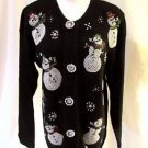 Christmas Cardigan Sweater Women's Small Beads Snowmen Button Front  Crew neck