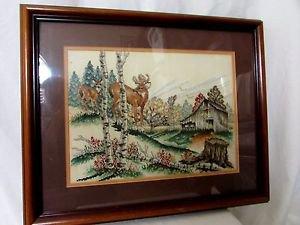 """Cross Stitch Framed by Stoney Creek """"Wary Approach"""" Framed Deer Lodge Cabin"""