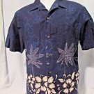 RJC Hawaiian Camp Shirt Men's Size Large Short Sleeve Pocket Palm Trees Flowers