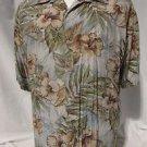 Tori Richard Hawaiian Shirt Men's Large Short Sleeve Pocket Green Hibiscus Palms