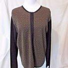 Talbots Zipper Cardigan Sweater Women's Large Tan Black Geometric Design Italy