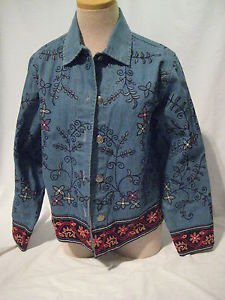 Chico's Jean Jacket  Women's Size 0 Embroidered Denim Coat Button Front  Blue