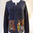 Ugly Reindeer Christmas Cardigan Sweater Women's Small bells Zipper Front Blue
