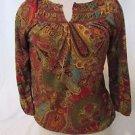LAUREN RALPH LAUREN Peasant Shirt Women Size PS 3/4 Sleeves Paisley Bohemia Top