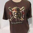 Pirates Of The Caribbean T-Shirt Women's XL Skull Cross Bones Brown Disney