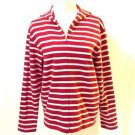 Talbots Hooded Cardigan Women's Size Small Striped Red & White Zipper Front