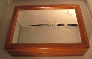 Wood Jewelry Box Organizer Mirror Etched Glass  Organizer Dresser