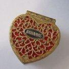 "Heart trinket box filigree 2 1/4"" Felt Lined Bahamas Souvenir Vintage"