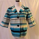 Talbots Petite Striped Jacket Women's 4 Blue Multi Color 3/4 Sleeves Jackie O