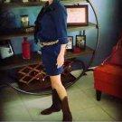 Talbots Denim Shirt Dress Women's 4 Blues 3/4 Sleeves Knee Length Button Front