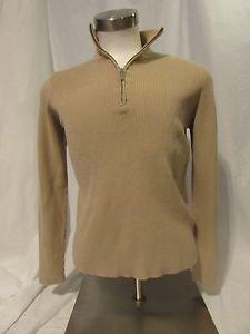 Lauren Ralph Lauren Sweater Women's Large  1/4 Zipper Pullover Tan