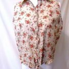 Lauren Ralph Lauren Tie Waist Shirt Women's M Button Front Top Floral Sleeveless