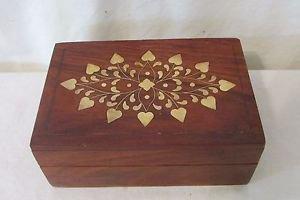 Trinket Jewelry Box Beautiful Vintage Wood w/Brass Inlay Felt Lined Hand Made