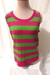Talbots Stretch Pullover Sleeveless Top Women's Large Striped Purple Green