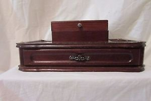 Vintage Wood Dresser Valet Jewelry Box  Organizer 1970's Made By London Leather