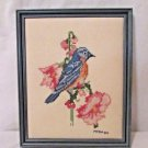 Complete Cross Stitched Picture Bluebird With Flowers 1984 Framed