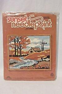 Needlepoint Kit October Fall Country Scene 8 x 10 New Unopened Sunset Beginners