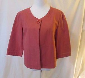 Talbots Short Jacket Jackie O Style Size 10 Faded Pink Denim Unlined 3/4 Sleeves