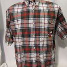 Mickey Mouse Shirt Men's Large Pocket Plaid Casual  Button Front Short Sleeve