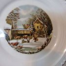 "CURRIER & IVES PLATE ""THE FARMER'S HOME-WINTER"" GOLD TRIMMED HARKERWARE 6.25"""