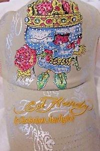 Ed Hardy Trucker Snapback  Ball Cap Tan With Skull,Crown, and Rhinestones NWT