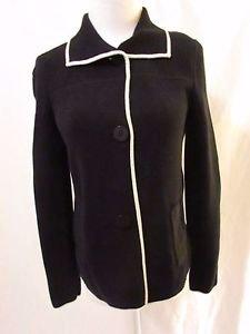 Talbots Women's Collared Cardigan Size XS Black Button Front Cream Trim Pockets