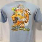 Looney Tunes T Shirt Adult M Blue Out Of This World Bugs Bunny Daffy Tweety