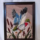 Vintage  Needlepoint Picture Mallard Duck Professional Framed Longstitch