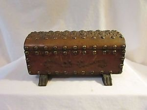 Vintage Leather Covered Wood Studded Treasure Chest Made In Spain