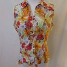 Talbots Petites Sleeveless Blouse Shirt Women's Small Floral Button Front